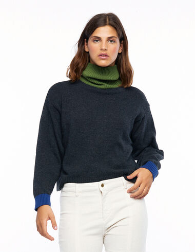 Jersey cuello vuelto contraste azul - Ver todo > - Nícoli