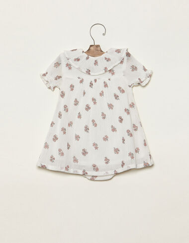 Pink flower print ruffle neck dress - Baby - Nícoli
