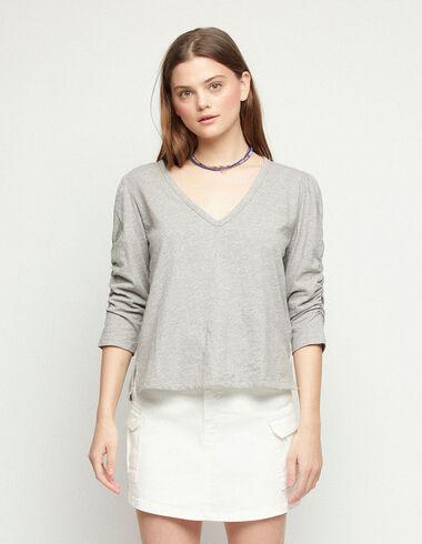 Camiseta manga abullonada gris - Camisetas - Nícoli