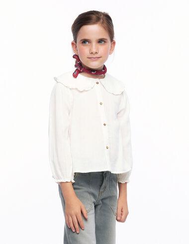 Ecru ruffle Peter Pan collar shirt - View all > - Nícoli
