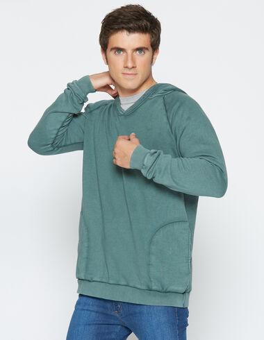 Sweatshirt vert foncé à capuche pour garçons - Voit tout > - Nícoli