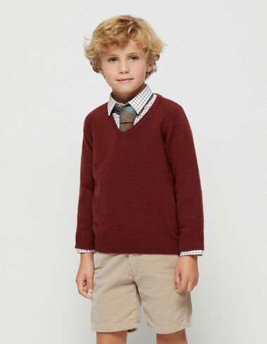 Boy´s terracotta v-neck jumper - View all > - Nícoli