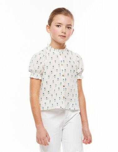 Camisa cuello perkins botones flores pequeñas azules - Ver todo > - Nícoli