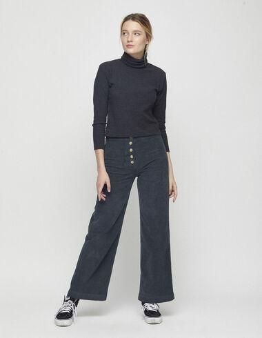 Pantalon en velours anthracite à poches - Voir tout > - Nícoli