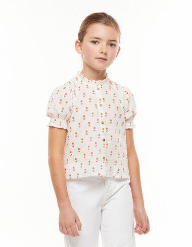 Chemise col perkins boutons petites fleurs fraise - Pink & White - Nícoli
