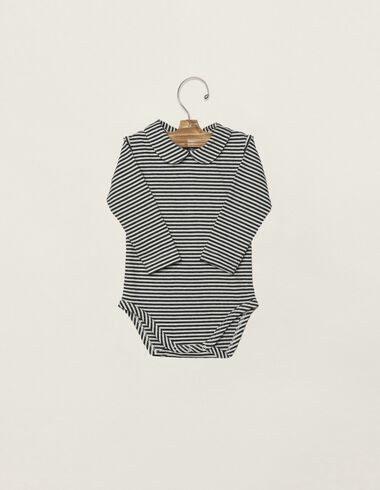 Off-white/anthracite striped baby bodysuit  - View all > - Nícoli
