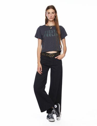 Total black wide leg yoke trousers - The Square Print - Nícoli