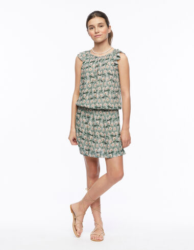 Green floral print elasticated wing dress - New Flower Print - Nícoli