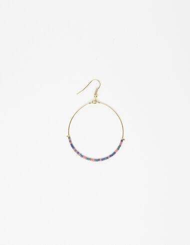 Boucle d'oreille anneau doré billes multicolore - Voir tout > - Nícoli