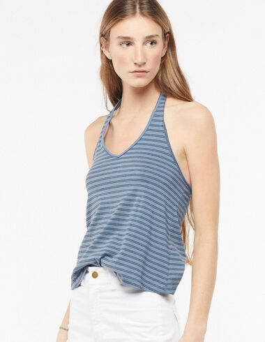 V-neck tie back blue and anthracite striped top - View all > - Nícoli