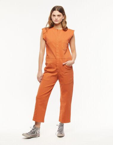 Orange short-sleeve jumpsuit - Denim - Nícoli