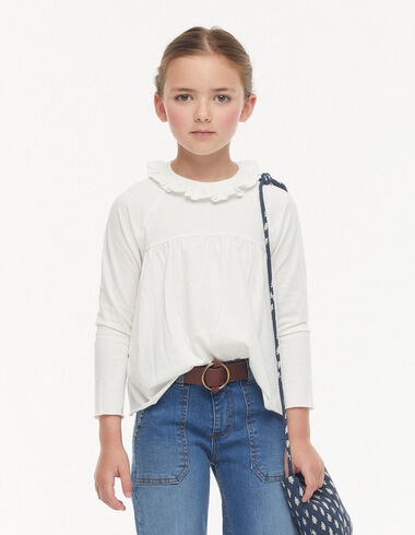 Ecru ruffle t-shirt - View all > - Nícoli