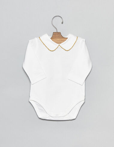 White cotton baby bodysuit with mustard stitching - View all > - Nícoli