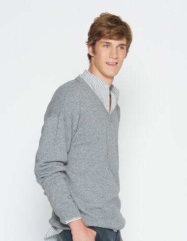 Boy's grey v-neck sweater - Pullovers - Nícoli