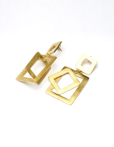 """""""Multi-square"""" gold earrings - View all > - Nícoli"""