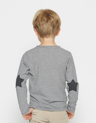 Boy's anthracite striped top with elbow patches - View all > - Nícoli
