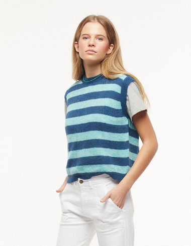 Green and blue striped vest - Waistcoats - Nícoli