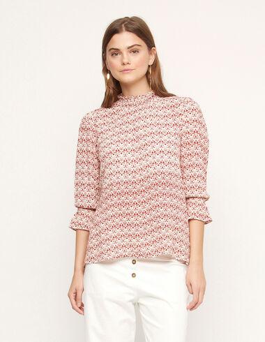 Ecru/Russet print perkins collar shirt - View all > - Nícoli