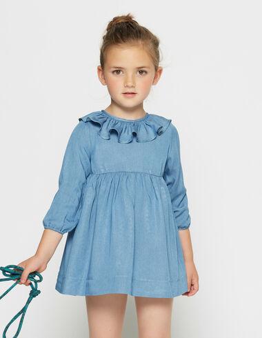 Girl's denim ruffle dress - View all > - Nícoli