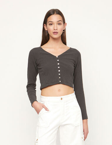 Anthracite ribbed crop top with buttons - View all > - Nícoli
