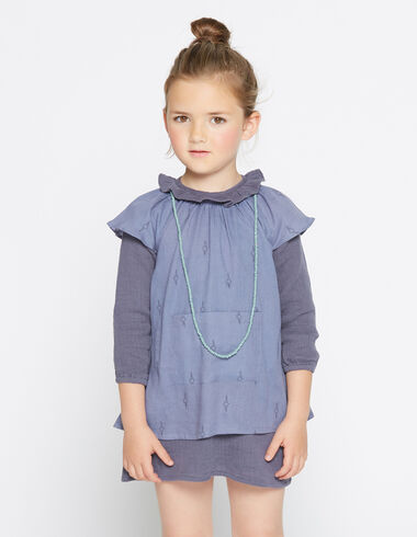 Girl's blue herringbone pinafore dress - View all > - Nícoli