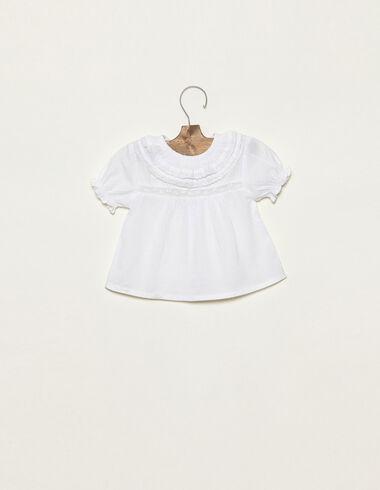 White double-ruffle neck shirt - Shirts - Nícoli