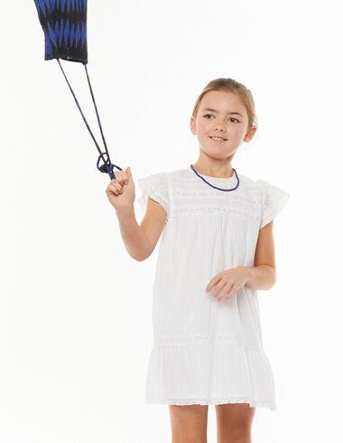 Vestido encajes hombro volante blanco - Ver todo > - Nícoli