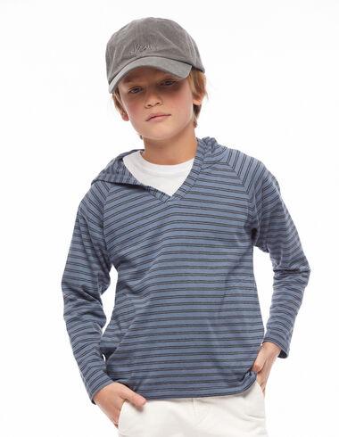 Sweat-shirt capuche rayure bleu - Voir tout > - Nícoli