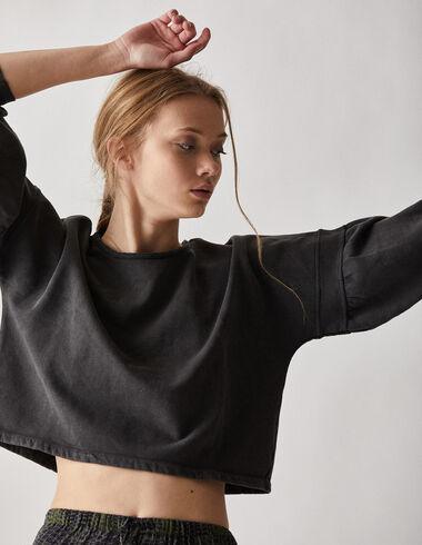 Sweatshirt anthracite manches bouffantes femme - Voir tout > - Nícoli