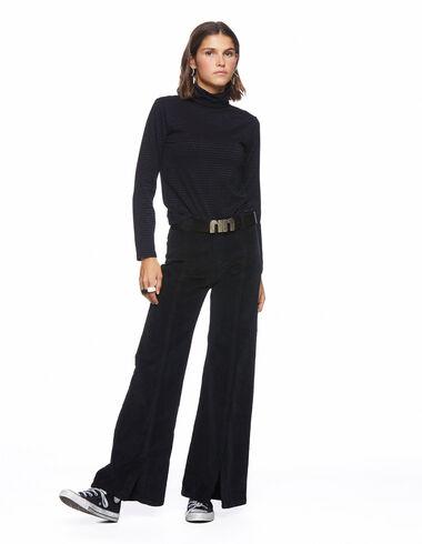 Pantalon évasé ouverture côtelé noir - More than Black Looks - Nícoli