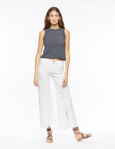 Pantalón campana abertura blanco - Pantalones largos - Nícoli