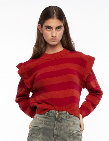 Orange striped jumper with shoulder ruffles - View all > - Nícoli