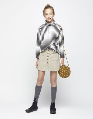 Beige corduroy skirt with pockets - Skirts - Nícoli