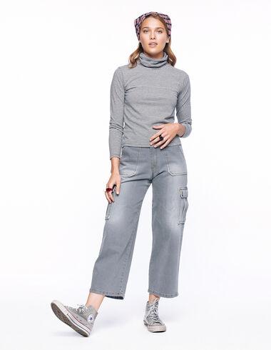 Grey denim cargo trousers - Denim - Nícoli