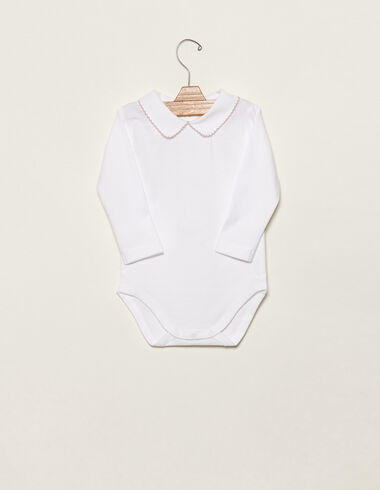 Pink baby bodysuit with topstitching - View all > - Nícoli