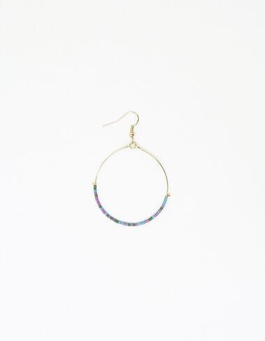 Boucle d'oreille demi-anneau billes violette - Boucles d'orielles - Nícoli