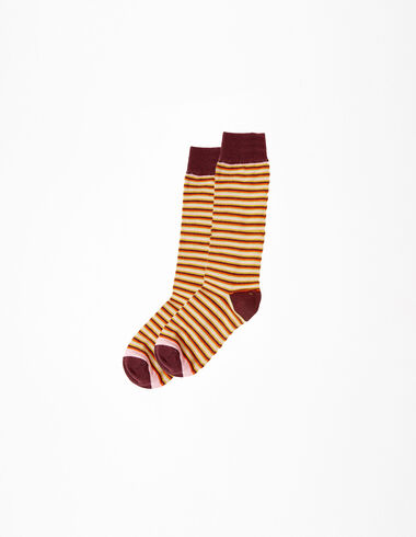Light multicolour striped maroon socks - Accesories - Nícoli