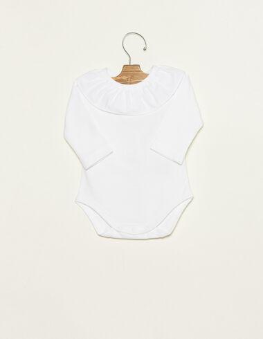 White ruffle neck bodysuit - Ropa - Nícoli