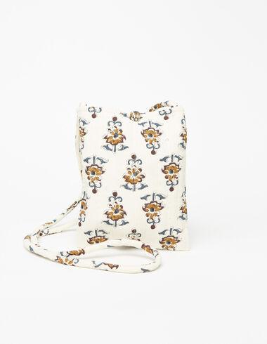 Sac bandoulière velours côtelé print fleur boutis écru - Sacs à bandoulière - Nícoli