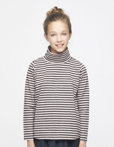 Pink/anthracite striped high neck top - View all > - Nícoli
