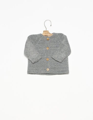 Grey cardigan with wooden buttons - View all > - Nícoli
