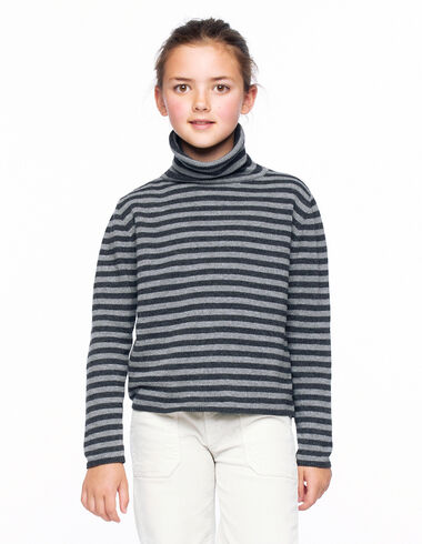 Anthracite and grey striped turtleneck jumper - Back in the City - Nícoli