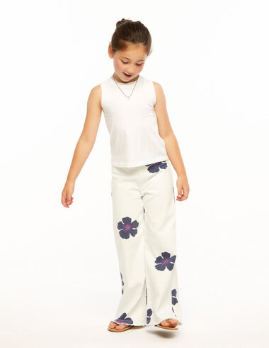 Blue floral print wide leg trousers - Ropa - Nícoli