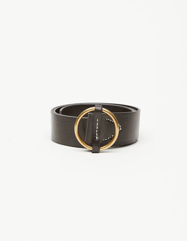 Black leather round buckle belt - New in - Nícoli