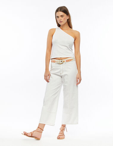 White wide-leg trousers with topstitching - All About Colours - Nícoli