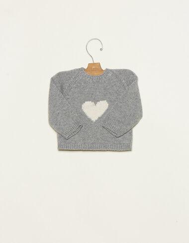 Pull gris cœur écru - Pulls - Nícoli