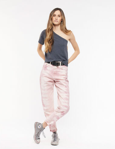 Strawberry tie dye baggy trousers with top-stitching - Denim - Nícoli