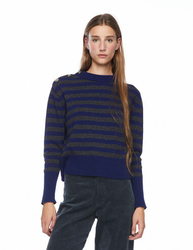 Blue striped jumper with shoulder buttons - View all > - Nícoli
