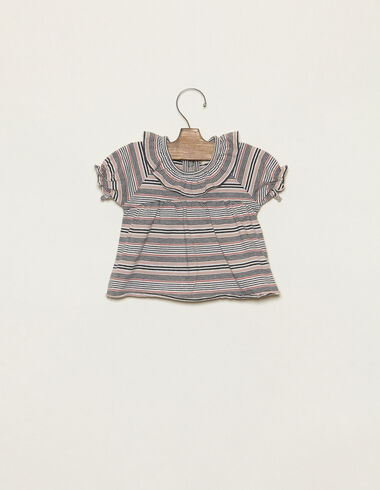 Pink striped ruffle neck t-shirt - T-Shirts - Nícoli
