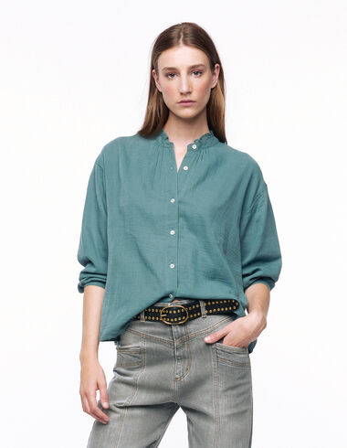 Green mock turtleneck shirt - View all > - Nícoli